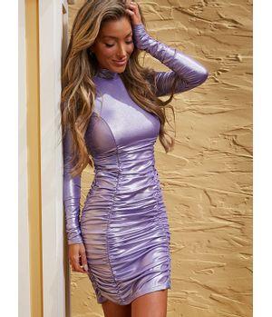 Vestido Guess Ls Rushing Dress Apmt Lila