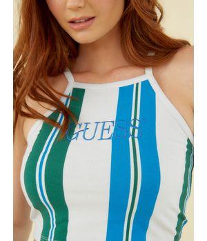 Top Guess Go Royal Blue Green Str Crop P7X9 Multicolor