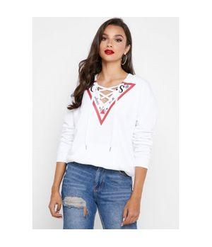Polerón Guess Triangle Fleece Twht Blanco