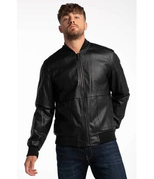 Chaqueta Guess Pu Leather Bomber Jblk Negro